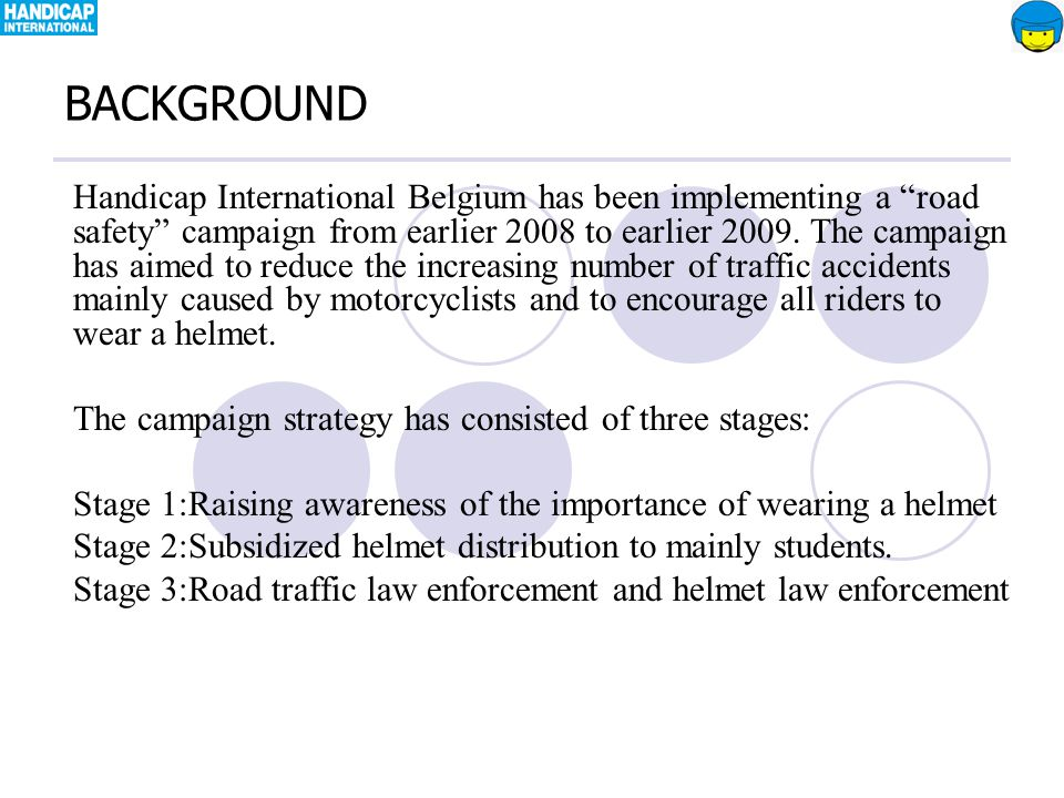 Handicap International Belgium has been implementing a road safety campaign from earlier 2008 to earlier 2009.