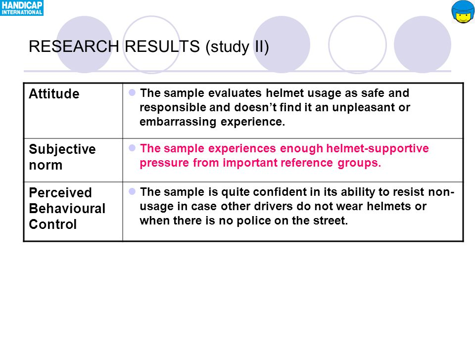 Attitude The sample evaluates helmet usage as safe and responsible and doesn't find it an unpleasant or embarrassing experience.