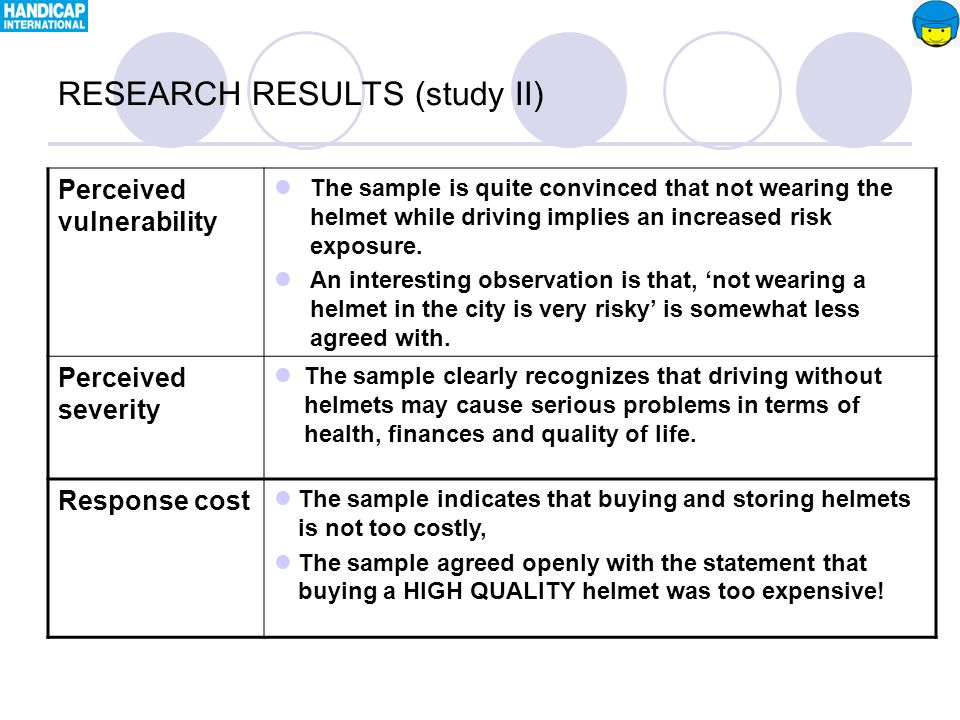 Perceived vulnerability The sample is quite convinced that not wearing the helmet while driving implies an increased risk exposure.