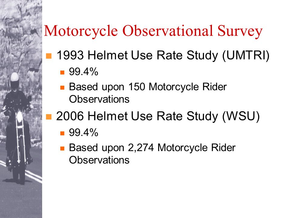 Motorcycle Observational Survey 1993 Helmet Use Rate Study (UMTRI) 99.4% Based upon 150 Motorcycle Rider Observations 2006 Helmet Use Rate Study (WSU) 99.4% Based upon 2,274 Motorcycle Rider Observations