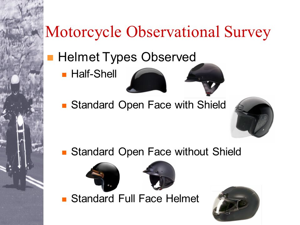 Motorcycle Observational Survey Helmet Types Observed Half-Shell Standard Open Face with Shield Standard Open Face without Shield Standard Full Face Helmet