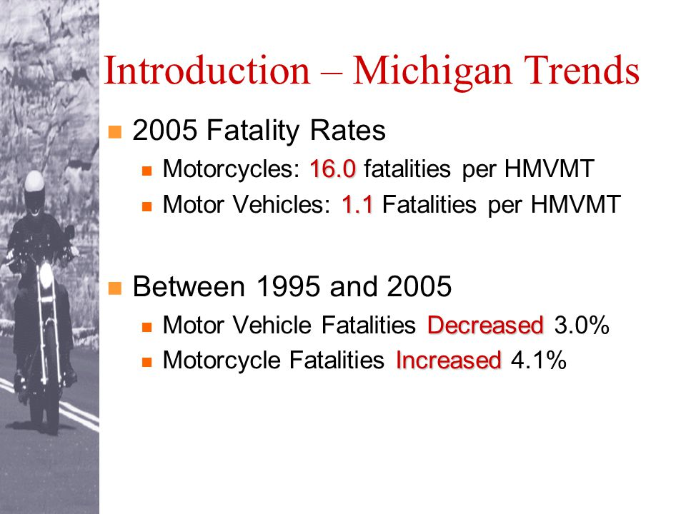 Introduction – Michigan Trends 2005 Fatality Rates 16.0 Motorcycles: 16.0 fatalities per HMVMT 1.1 Motor Vehicles: 1.1 Fatalities per HMVMT Between 1995 and 2005 Decreased Motor Vehicle Fatalities Decreased 3.0% Increased Motorcycle Fatalities Increased 4.1%