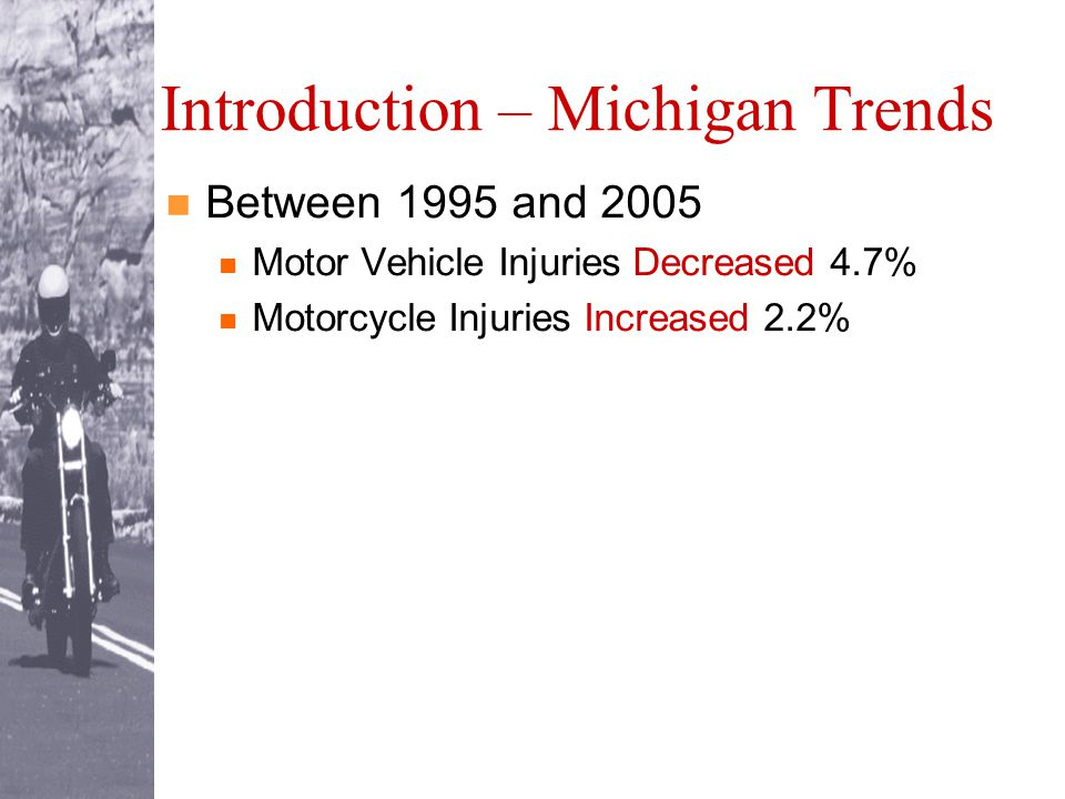 Between 1995 and 2005 Motor Vehicle Injuries Decreased 4.7% Motorcycle Injuries Increased 2.2%