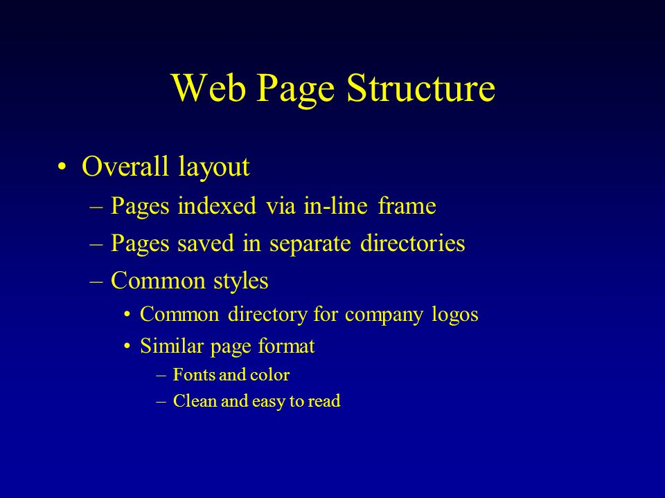 Web Page Structure Overall layout –Pages indexed via in-line frame –Pages saved in separate directories –Common styles Common directory for company logos Similar page format –Fonts and color –Clean and easy to read