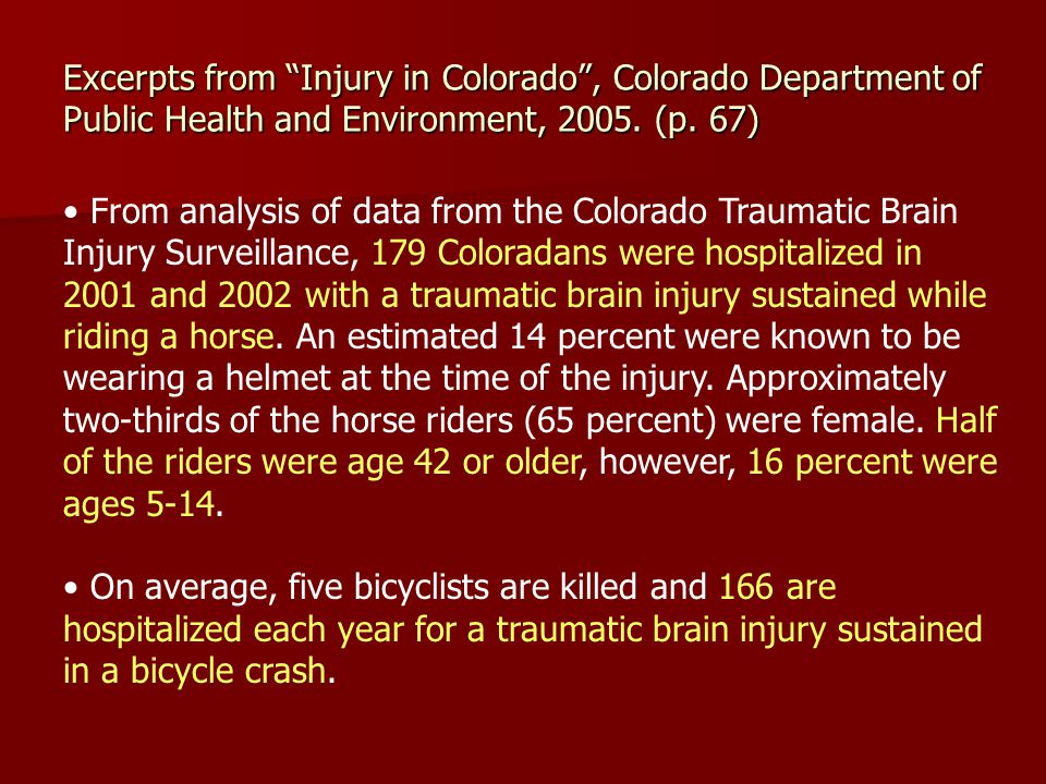 From analysis of data from the Colorado Traumatic Brain Injury Surveillance, 179 Coloradans were hospitalized in 2001 and 2002 with a traumatic brain injury sustained while riding a horse.