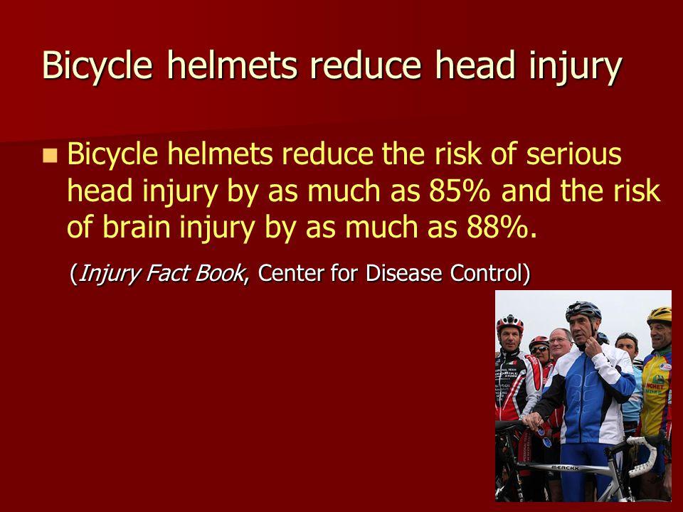 Bicycle helmets reduce head injury Bicycle helmets reduce the risk of serious head injury by as much as 85% and the risk of brain injury by as much as 88%.