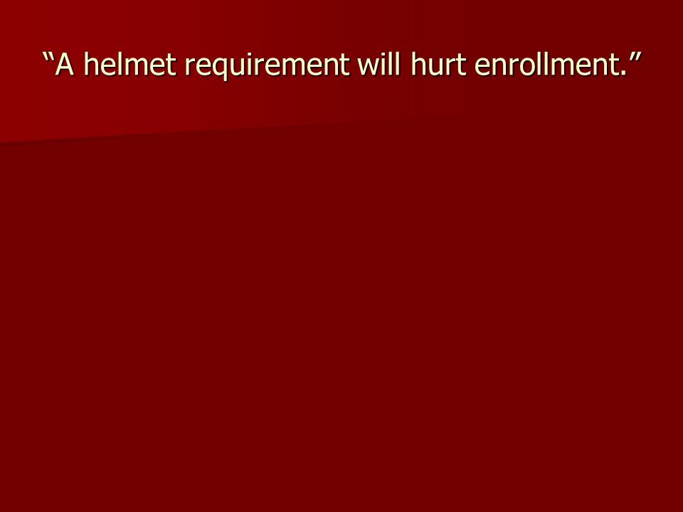 A helmet requirement will hurt enrollment.