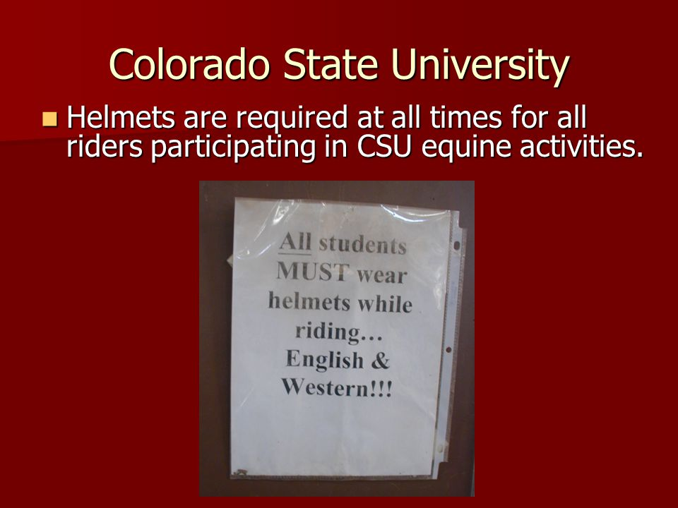 Colorado State University Helmets are required at all times for all riders participating in CSU equine activities.