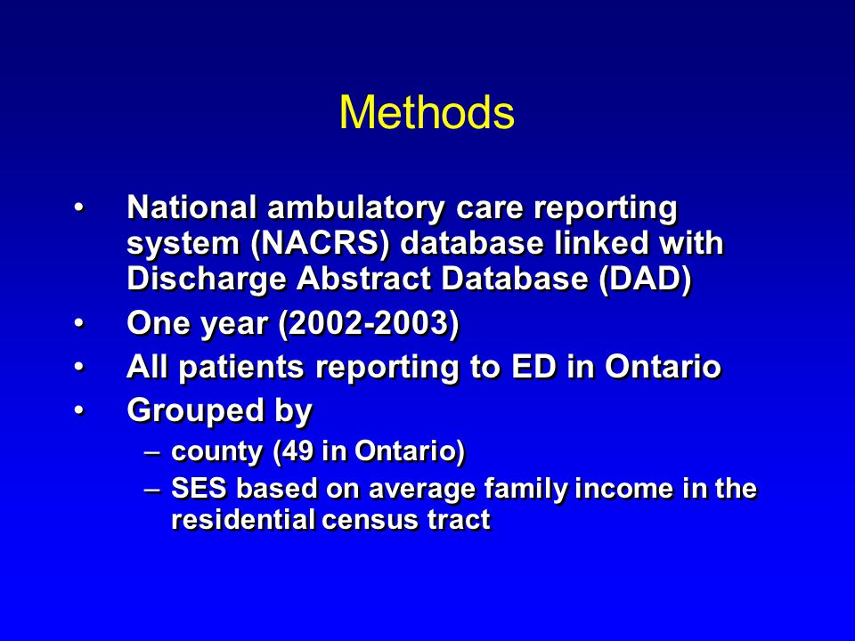 Methods National ambulatory care reporting system (NACRS) database linked with Discharge Abstract Database (DAD) One year (2002-2003) All patients reporting to ED in Ontario Grouped by –county (49 in Ontario) –SES based on average family income in the residential census tract National ambulatory care reporting system (NACRS) database linked with Discharge Abstract Database (DAD) One year (2002-2003) All patients reporting to ED in Ontario Grouped by –county (49 in Ontario) –SES based on average family income in the residential census tract