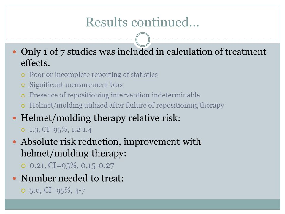 Results continued… Only 1 of 7 studies was included in calculation of treatment effects.  Poor or incomplete reporting of statistics  Significant me
