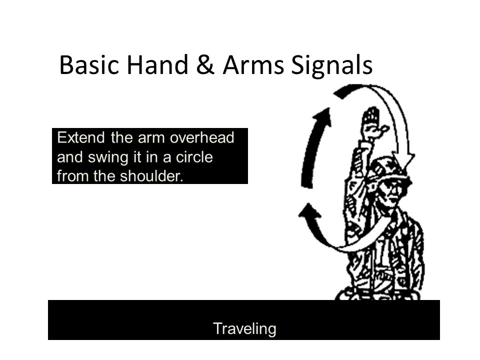 Basic Hand & Arms Signals Traveling Extend the arm overhead and swing it in a circle from the shoulder.