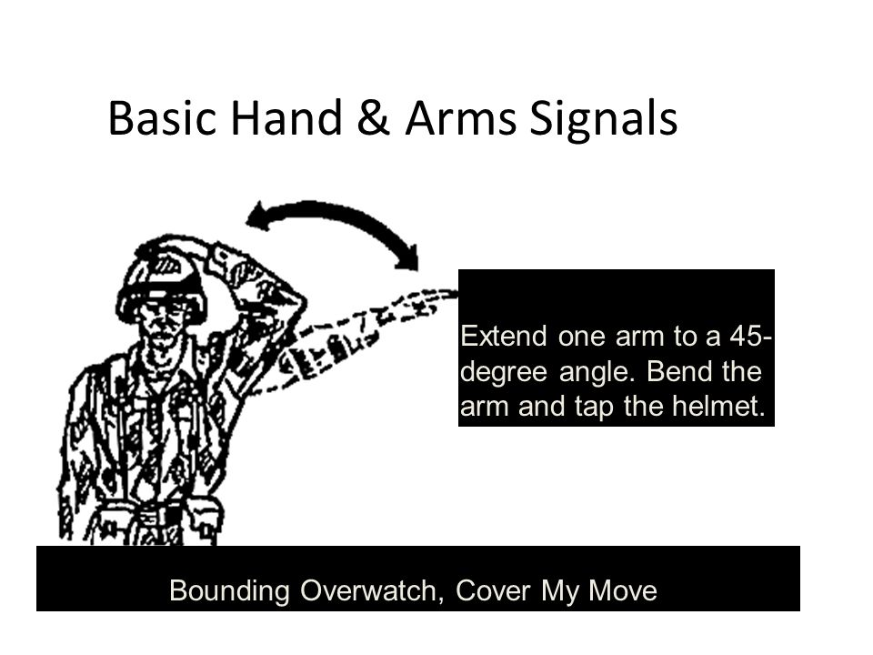 Basic Hand & Arms Signals Extend one arm to a 45- degree angle.
