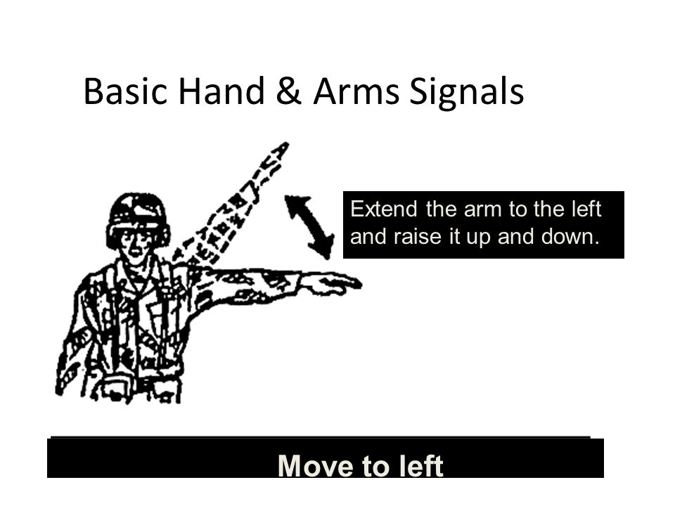 Basic Hand & Arms Signals Move to left Extend the arm to the left and raise it up and down.