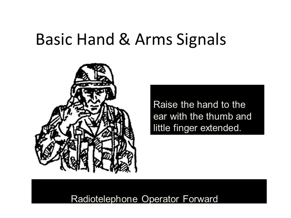 Basic Hand & Arms Signals Radiotelephone Operator Forward Raise the hand to the ear with the thumb and little finger extended.