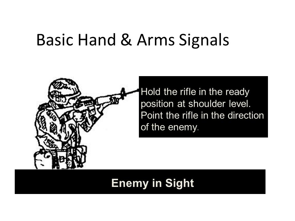 Basic Hand & Arms Signals Hold the rifle in the ready position at shoulder level.
