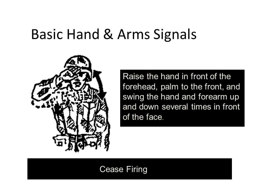 Basic Hand & Arms Signals Raise the hand in front of the forehead, palm to the front, and swing the hand and forearm up and down several times in front of the face.