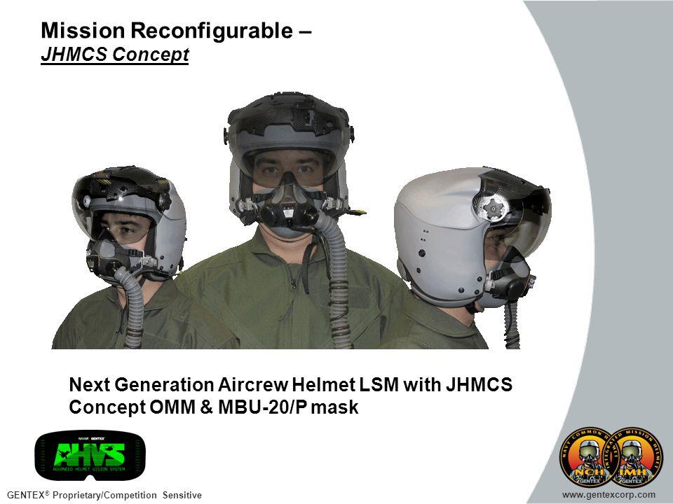 GENTEX ® Proprietary/Competition Sensitive www.gentexcorp.com Mission Reconfigurable – JHMCS Concept Next Generation Aircrew Helmet LSM with JHMCS Con