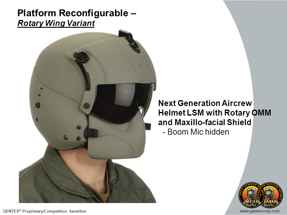 GENTEX ® Proprietary/Competition Sensitive www.gentexcorp.com Platform Reconfigurable – Rotary Wing Variant Next Generation Aircrew Helmet LSM with Ro