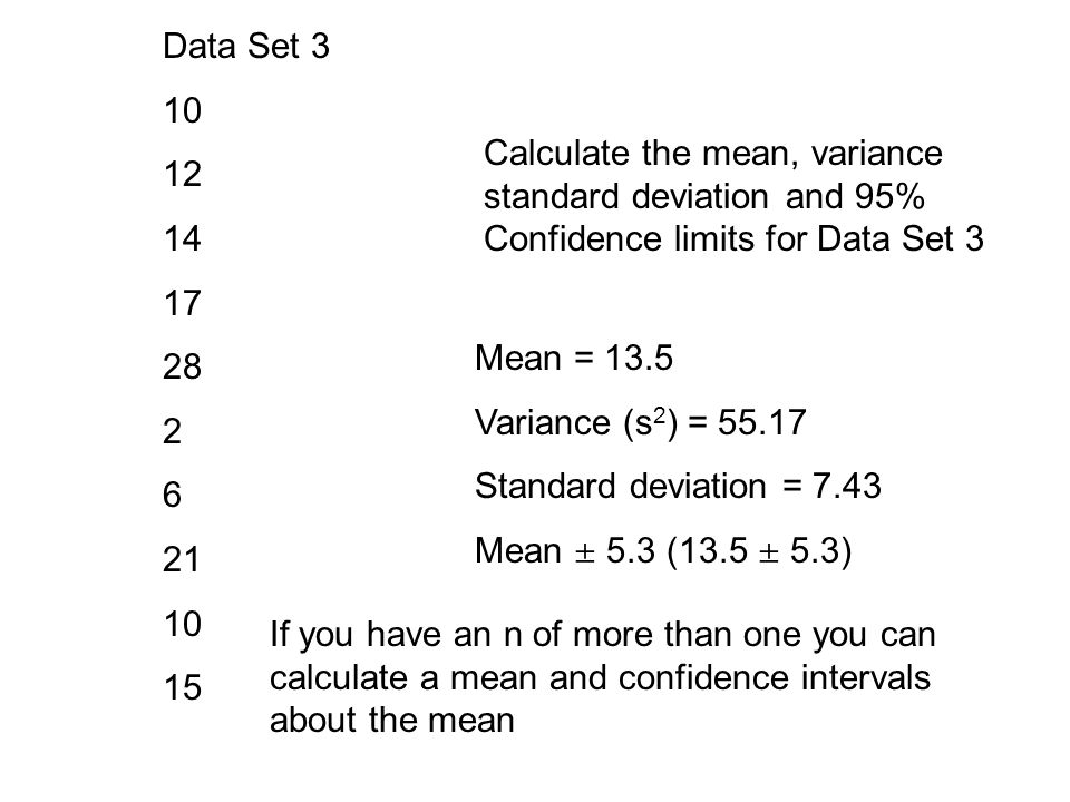 Data Set 3 10 12 14 17 28 2 6 21 10 15 Calculate the mean, variance standard deviation and 95% Confidence limits for Data Set 3 Mean = 13.5 Variance (s 2 ) = 55.17 Standard deviation = 7.43 Mean  5.3 (13.5  5.3) If you have an n of more than one you can calculate a mean and confidence intervals about the mean