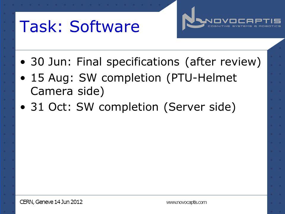 CERN, Geneve 14 Jun 2012 www.novocaptis.com Task: Software 30 Jun: Final specifications (after review) 15 Aug: SW completion (PTU-Helmet Camera side) 31 Oct: SW completion (Server side)