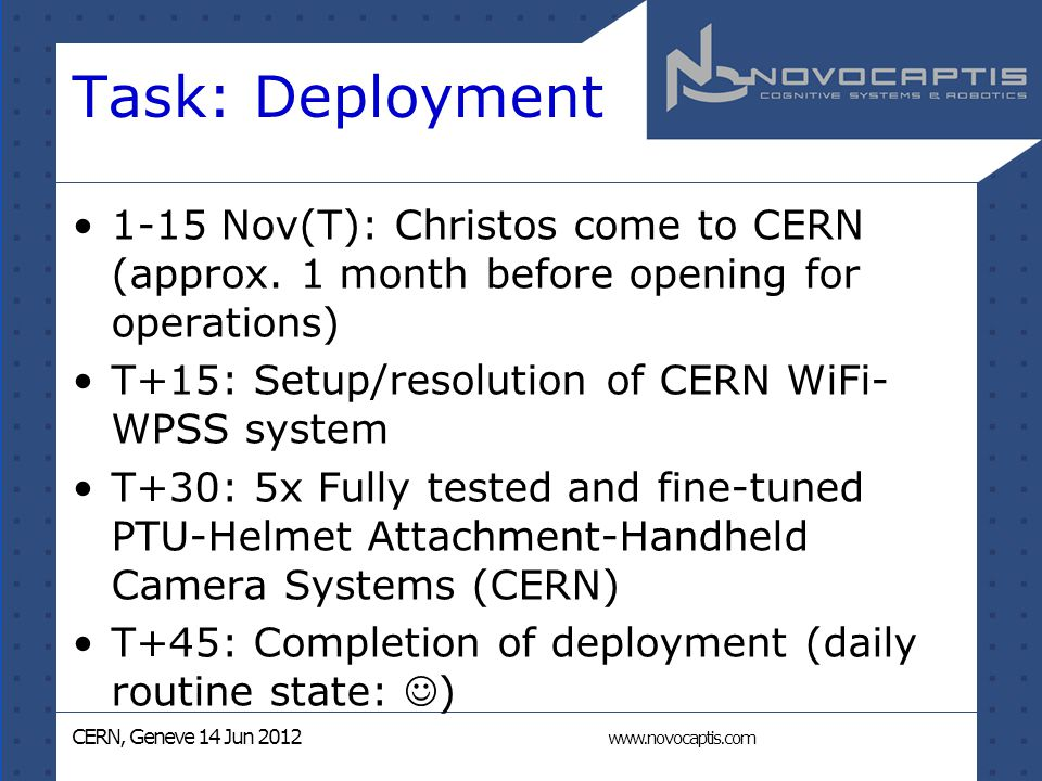 CERN, Geneve 14 Jun 2012 www.novocaptis.com Task: Deployment 1-15 Nov(T): Christos come to CERN (approx.