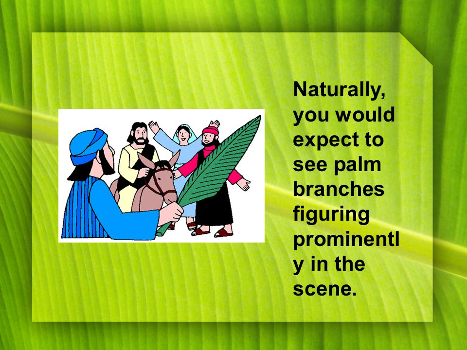 Naturally, you would expect to see palm branches figuring prominentl y in the scene.