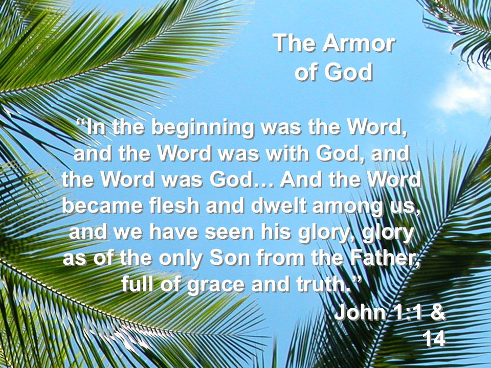 The Armor of God In the beginning was the Word, and the Word was with God, and the Word was God… And the Word became flesh and dwelt among us, and we have seen his glory, glory as of the only Son from the Father, full of grace and truth. John 1:1 & 14