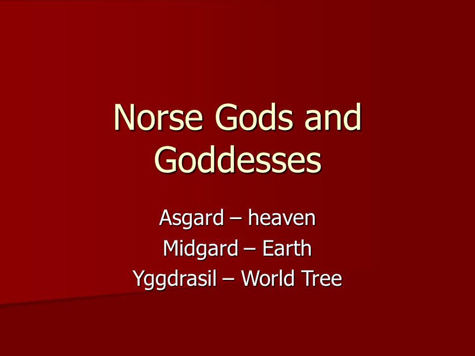 Norse Gods and Goddesses Asgard – heaven Midgard – Earth Yggdrasil – World Tree