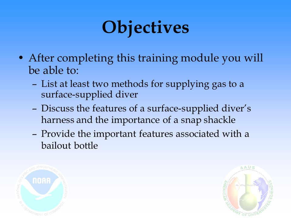 Objectives After completing this training module you will be able to: –List at least two methods for supplying gas to a surface-supplied diver –Discus