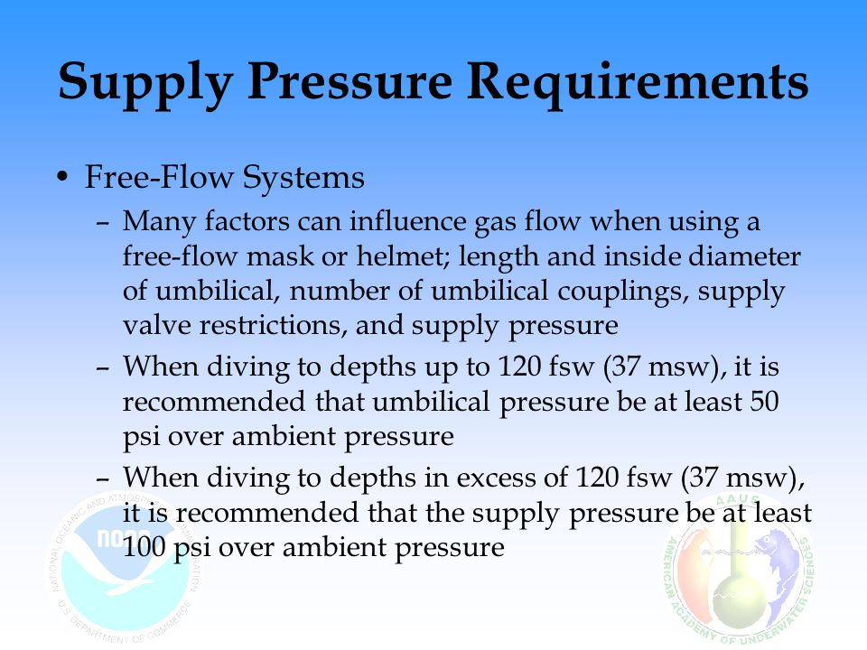 Supply Pressure Requirements Free-Flow Systems –Many factors can influence gas flow when using a free-flow mask or helmet; length and inside diameter