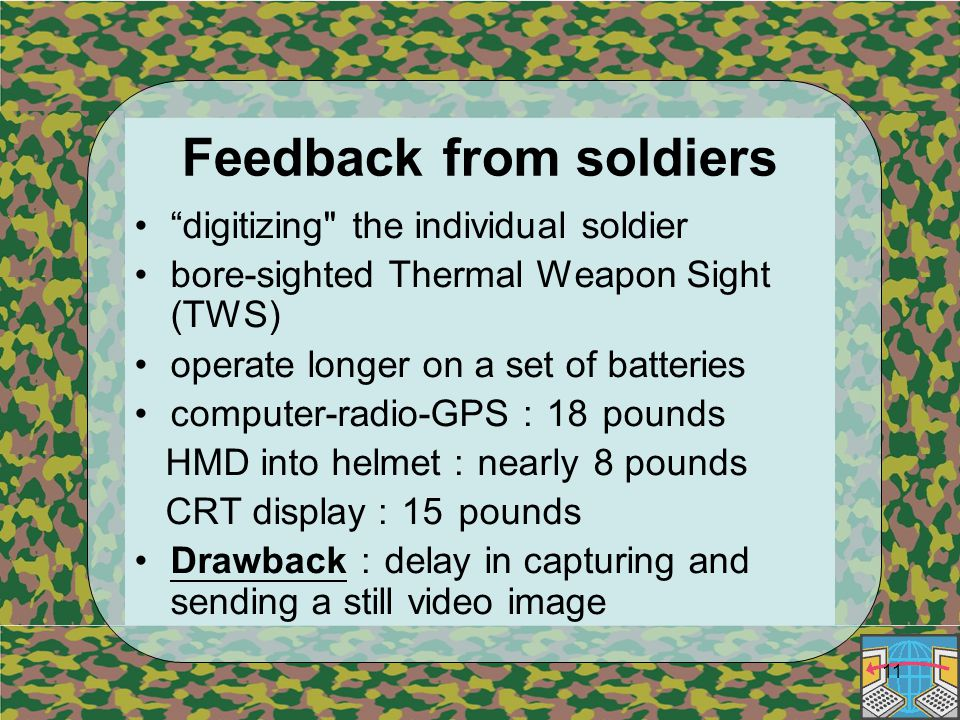11 Feedback from soldiers digitizing the individual soldier bore-sighted Thermal Weapon Sight (TWS) operate longer on a set of batteries computer-radio-GPS : 18 pounds HMD into helmet : nearly 8 pounds CRT display : 15 pounds Drawback : delay in capturing and sending a still video image