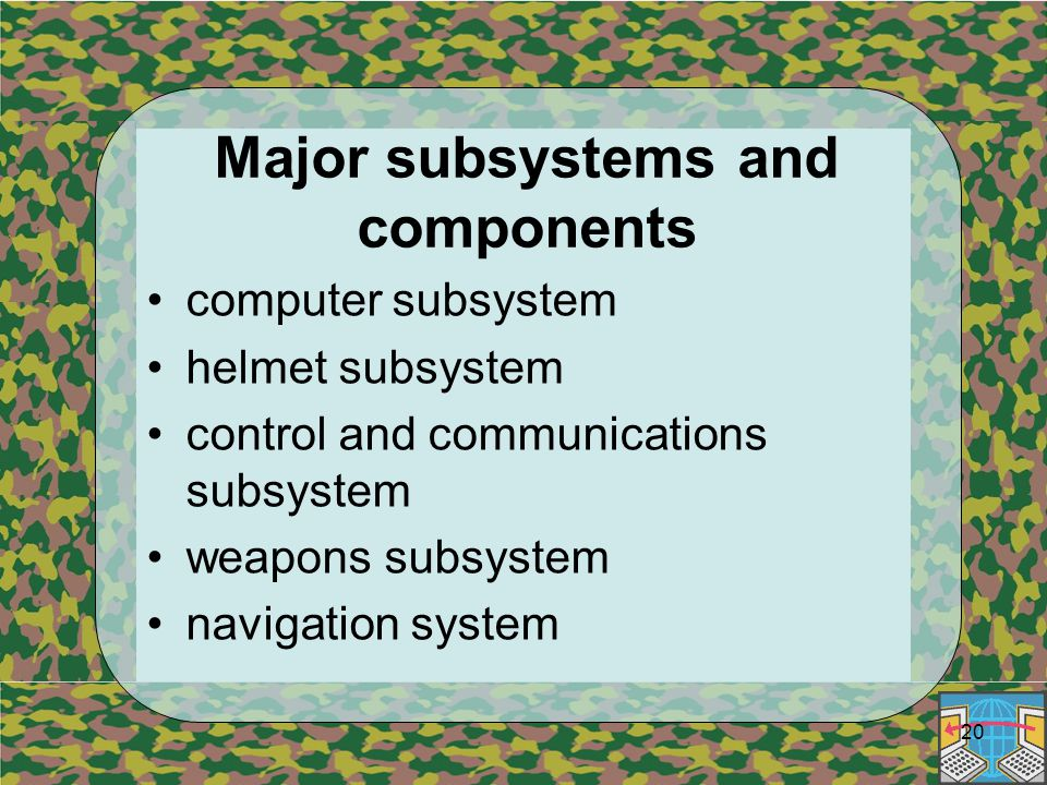 20 Major subsystems and components computer subsystem helmet subsystem control and communications subsystem weapons subsystem navigation system