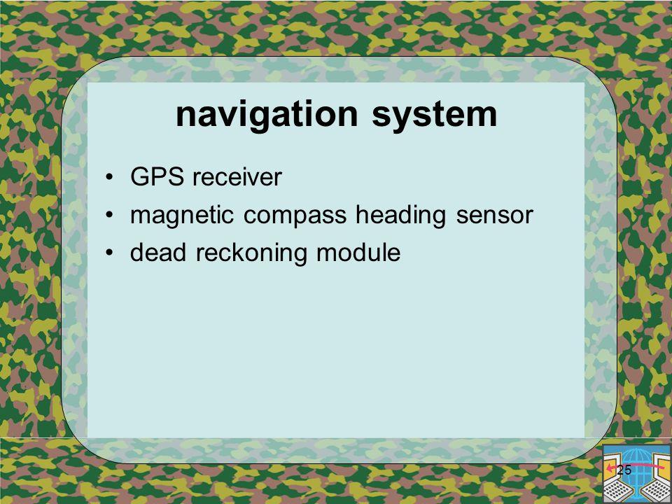 25 navigation system GPS receiver magnetic compass heading sensor dead reckoning module