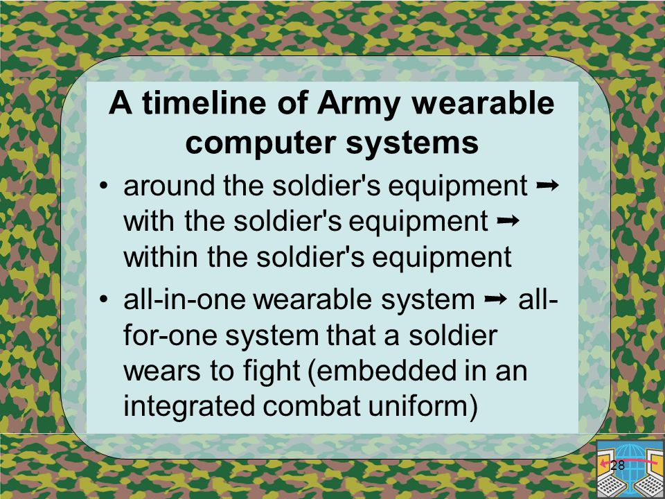 28 A timeline of Army wearable computer systems around the soldier s equipment ➝ with the soldier s equipment ➝ within the soldier s equipment all-in-one wearable system ➝ all- for-one system that a soldier wears to fight (embedded in an integrated combat uniform)