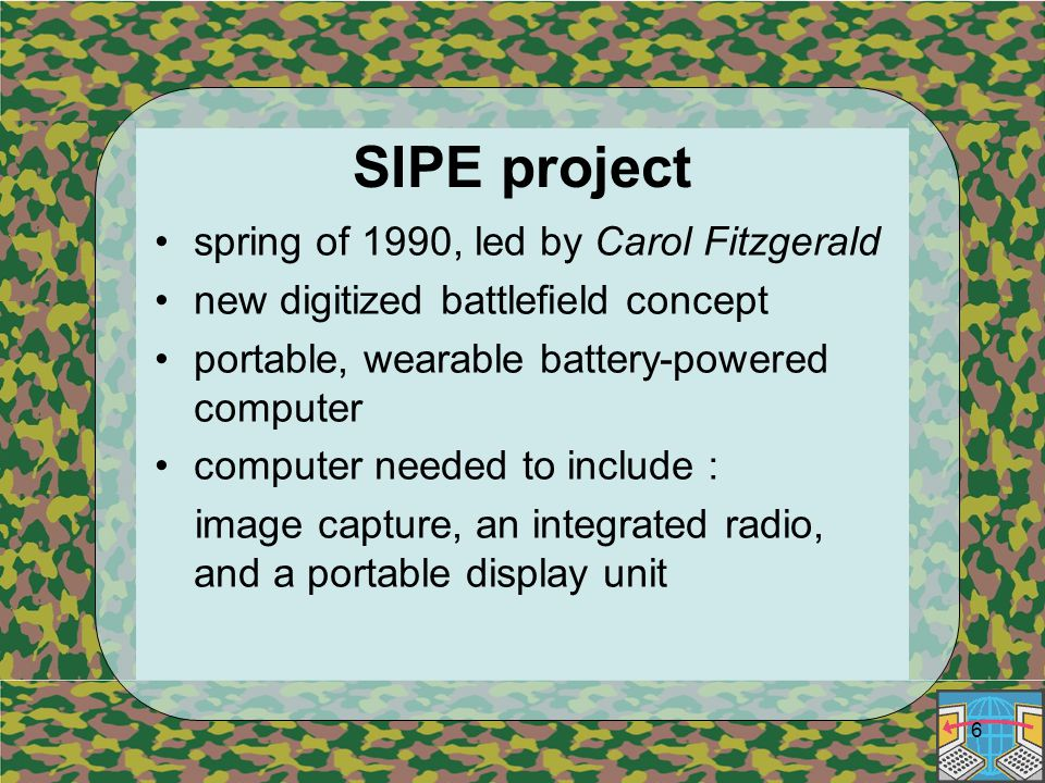 6 SIPE project spring of 1990, led by Carol Fitzgerald new digitized battlefield concept portable, wearable battery-powered computer computer needed to include : image capture, an integrated radio, and a portable display unit