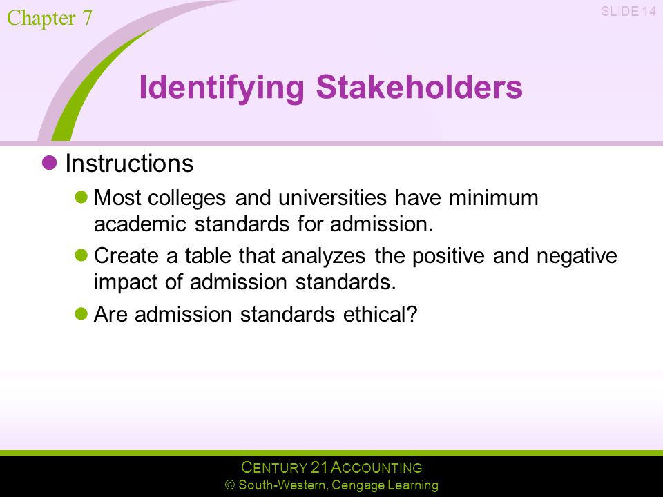 C ENTURY 21 A CCOUNTING © South-Western, Cengage Learning Chapter 7 SLIDE 14 Identifying Stakeholders Instructions Most colleges and universities have minimum academic standards for admission.