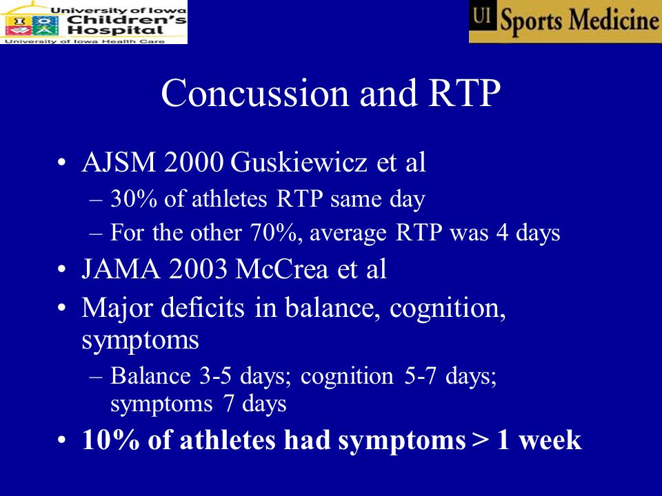 Concussion and RTP AJSM 2000 Guskiewicz et al –30% of athletes RTP same day –For the other 70%, average RTP was 4 days JAMA 2003 McCrea et al Major deficits in balance, cognition, symptoms –Balance 3-5 days; cognition 5-7 days; symptoms 7 days 10% of athletes had symptoms > 1 week