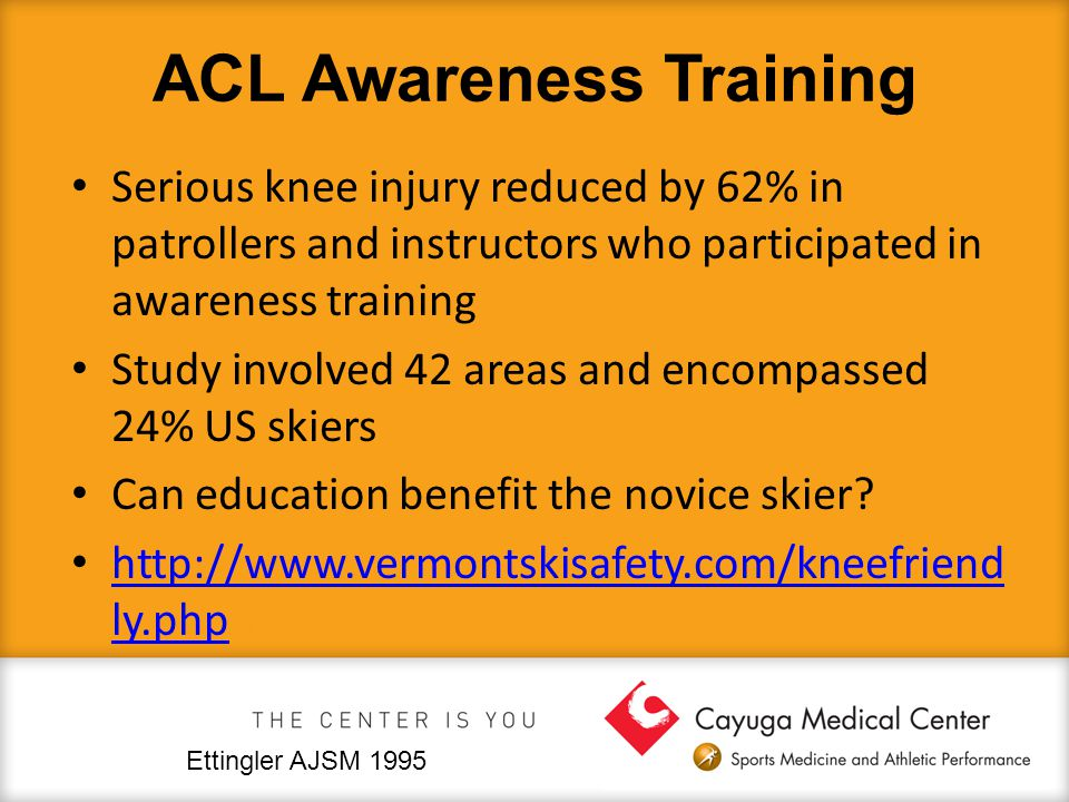 ACL Awareness Training Serious knee injury reduced by 62% in patrollers and instructors who participated in awareness training Study involved 42 areas and encompassed 24% US skiers Can education benefit the novice skier.