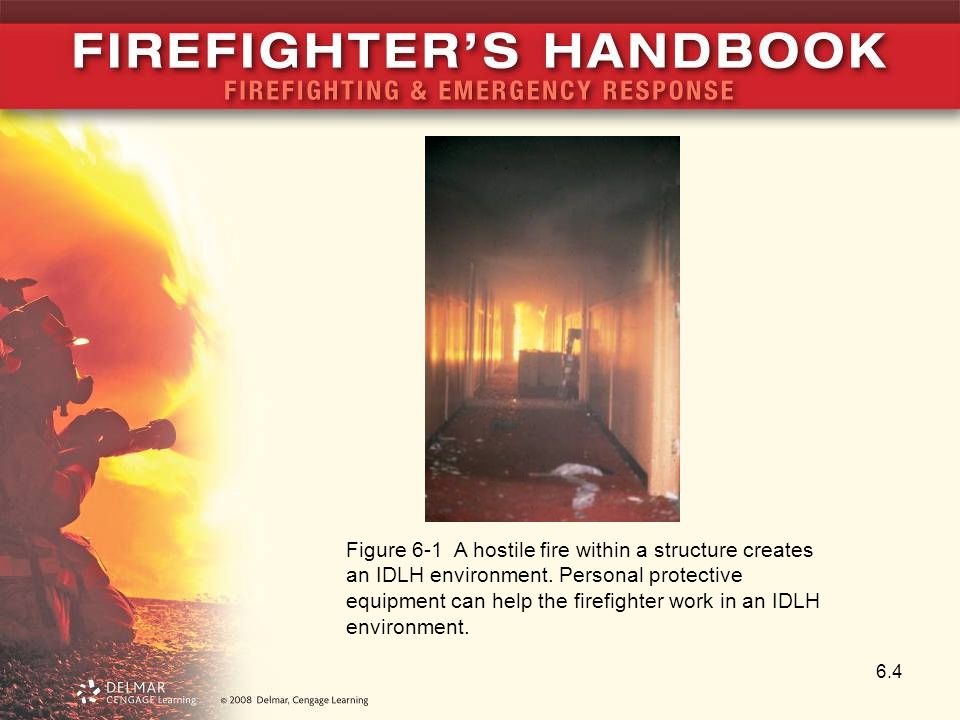 6.4 Figure 6-1 A hostile fire within a structure creates an IDLH environment.