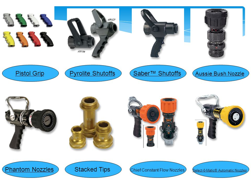 Viper Black Knight Nozzle Select-O-Mastic1 Forestry Nozzle Straight Bore Nozzles Thunder Fog Adjustable Flow Nozzles TFT Master Stream Nozzle SaberJet™ Nozzles 1½ Handle w/2 Roll Pins