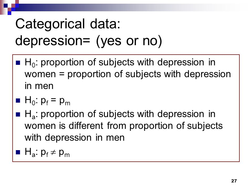 27 Categorical data: depression= (yes or no) H 0 : proportion of subjects with depression in women = proportion of subjects with depression in men H 0 : p f = p m H a : proportion of subjects with depression in women is different from proportion of subjects with depression in men H a : p f  p m
