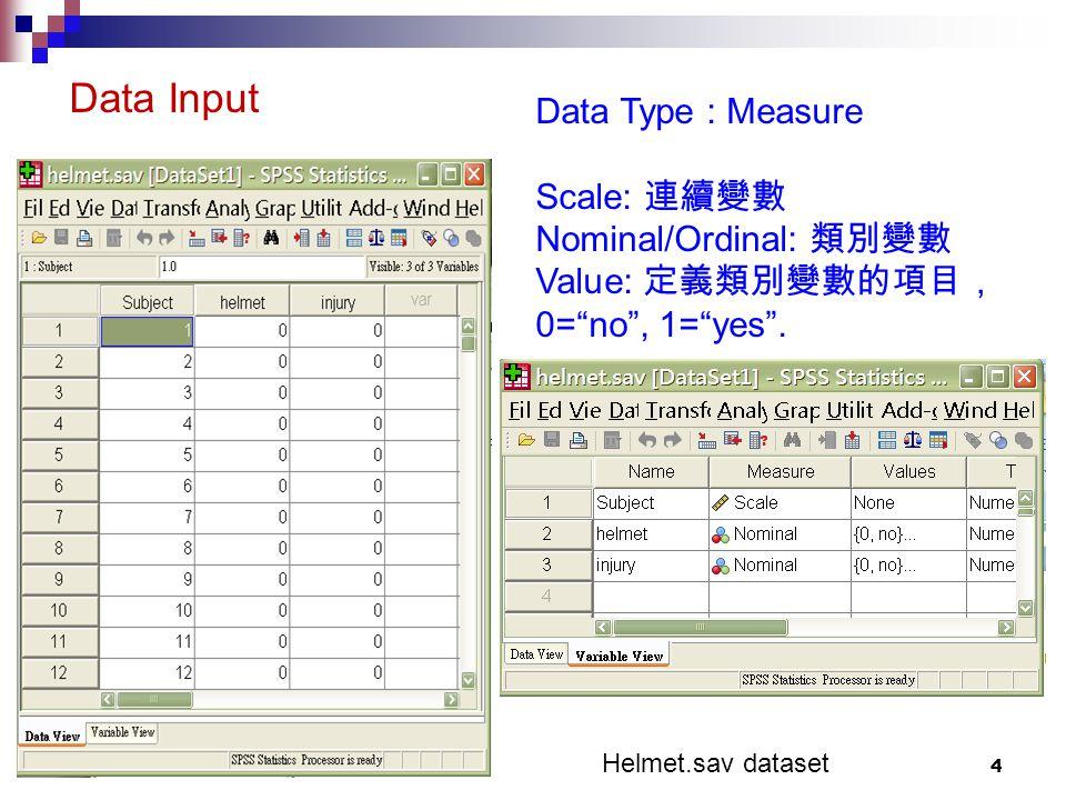4 Data Type : Measure Scale: 連續變數 Nominal/Ordinal: 類別變數 Value: 定義類別變數的項目, 0= no , 1= yes .