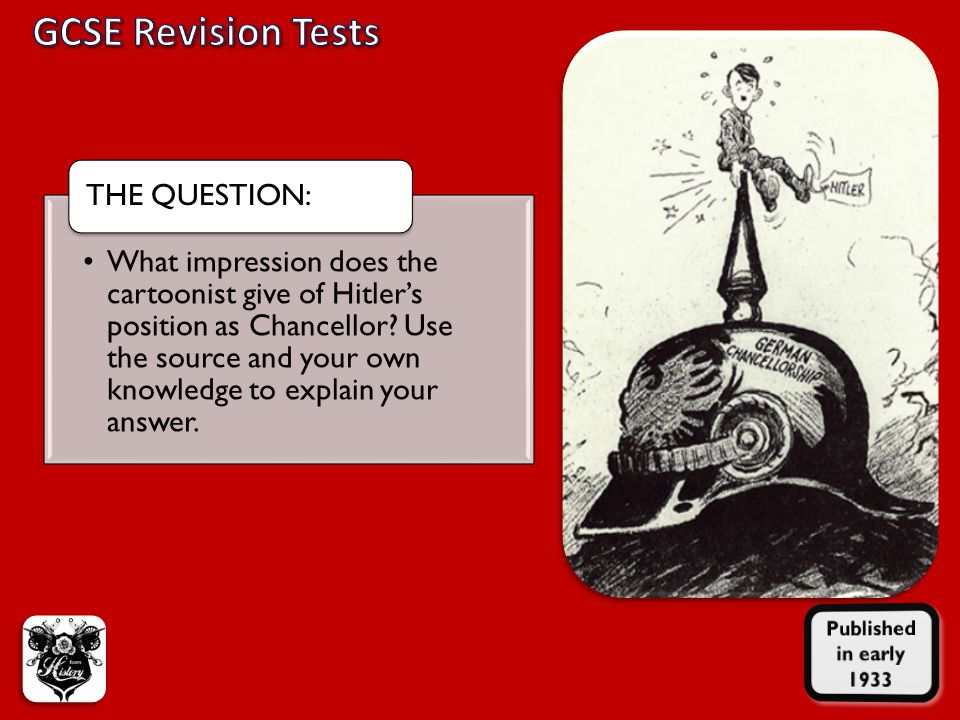 What impression does the cartoonist give of Hitler's position as Chancellor.