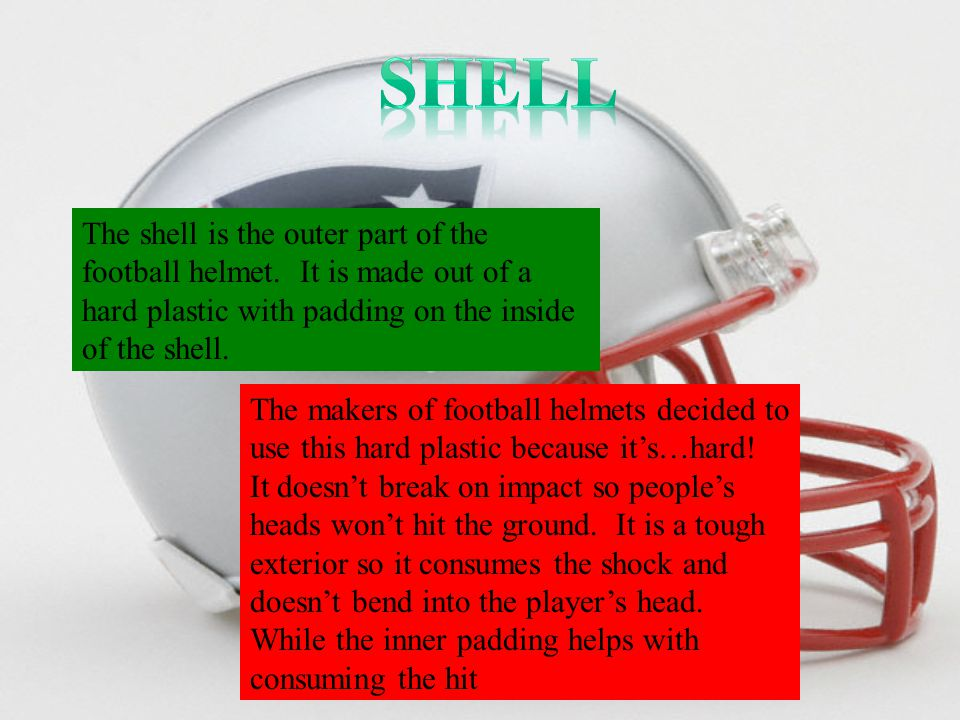 The shell is the outer part of the football helmet.