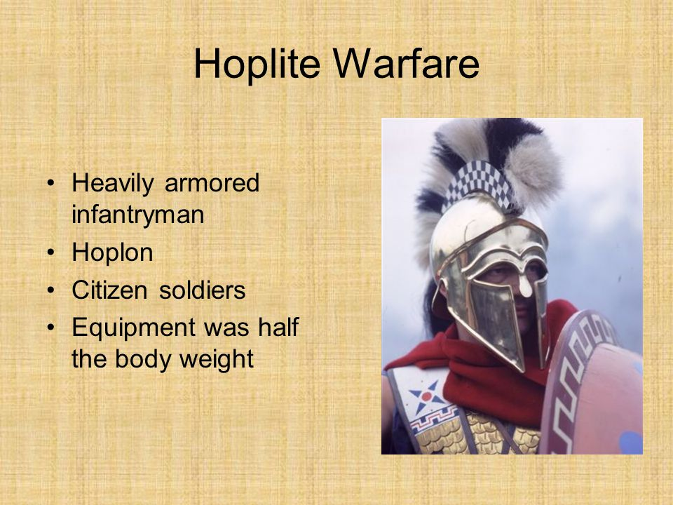 Hoplite Warfare Heavily armored infantryman Hoplon Citizen soldiers Equipment was half the body weight