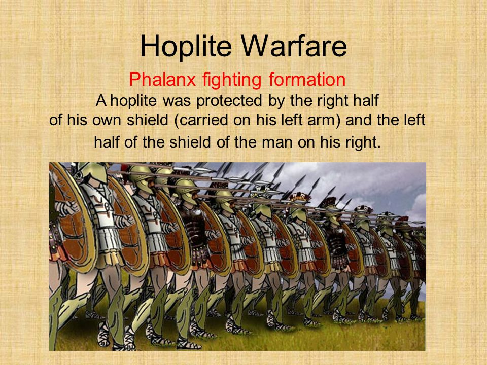 Hoplite Warfare Phalanx fighting formation A hoplite was protected by the right half of his own shield (carried on his left arm) and the left half of the shield of the man on his right.