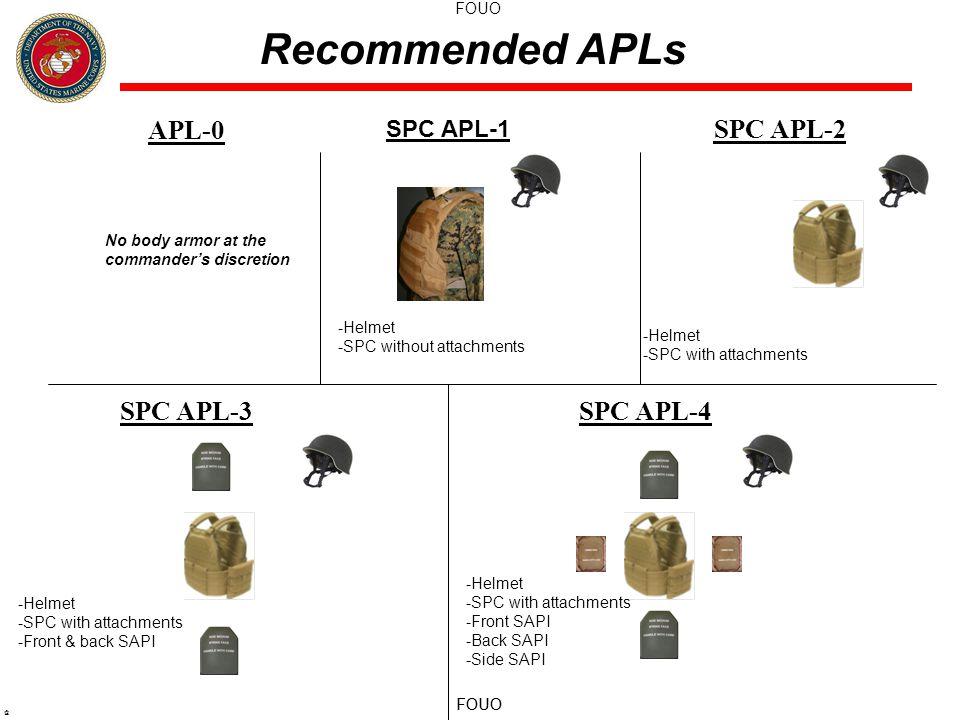 FOUO @ APL-0 SPC APL-2 SPC APL-3SPC APL-4 Recommended APLs SPC APL-1 -Helmet -SPC without attachments -Helmet -SPC with attachments -Helmet -SPC with attachments -Front & back SAPI -Helmet -SPC with attachments -Front SAPI -Back SAPI -Side SAPI No body armor at the commander's discretion