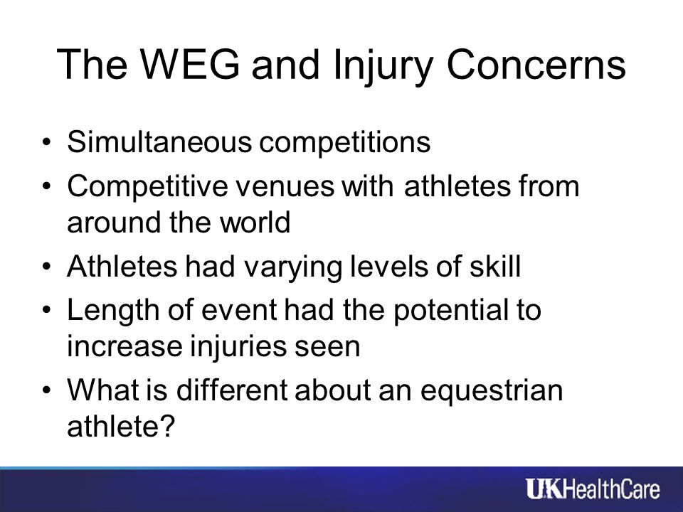 The WEG and Injury Concerns Simultaneous competitions Competitive venues with athletes from around the world Athletes had varying levels of skill Leng