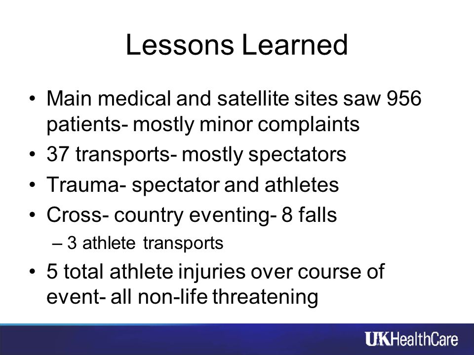 Lessons Learned Main medical and satellite sites saw 956 patients- mostly minor complaints 37 transports- mostly spectators Trauma- spectator and athl