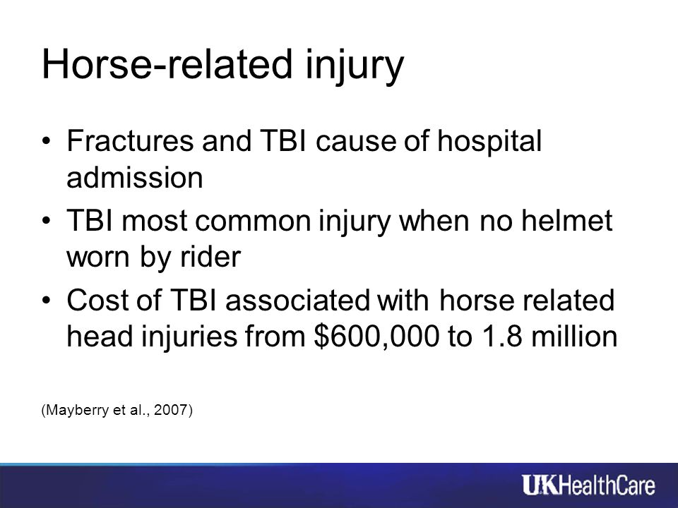 Horse-related injury Fractures and TBI cause of hospital admission TBI most common injury when no helmet worn by rider Cost of TBI associated with hor